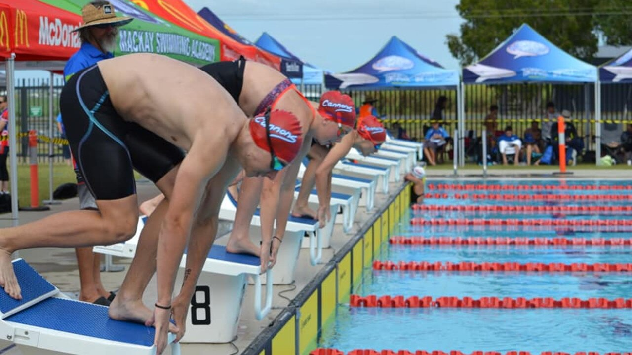 Cannonvale Cannons on the starting blocks at the GBR Swimming Carnival in Mackay. Photo: Contributed