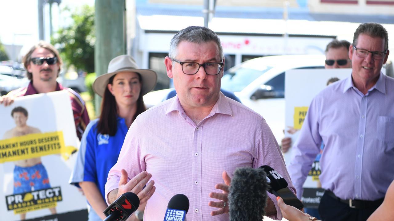 Senator Murray Watt addresses an anti-casualisation rally in front of Michelle Landry's office in Rockhampton last week.