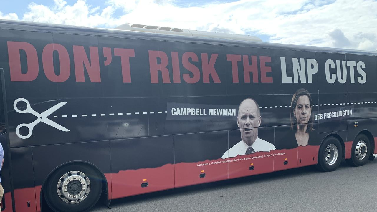 Labor's Cuts Bus seeks to remind the community about what happened the last time the LNP were in power in Queensland.
