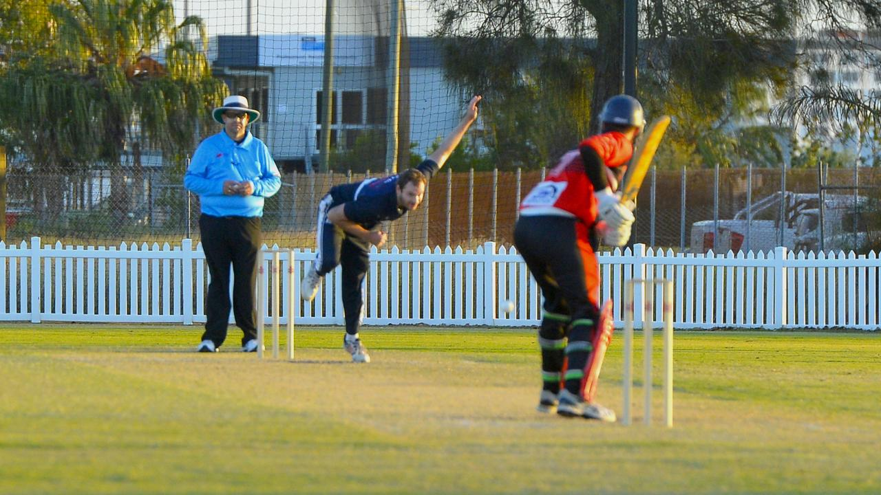 Norths defeated Brothers by one wicket in Round 2 of the DBCT Poole Cup at Harrup Park. Brothers' Mitch Wadsworth bowls to Norths' Conor Bryant. Photo: Callum Dick