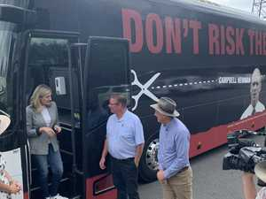 Labor's 'Cuts Bus' arrival in CQ sparks debate over promises