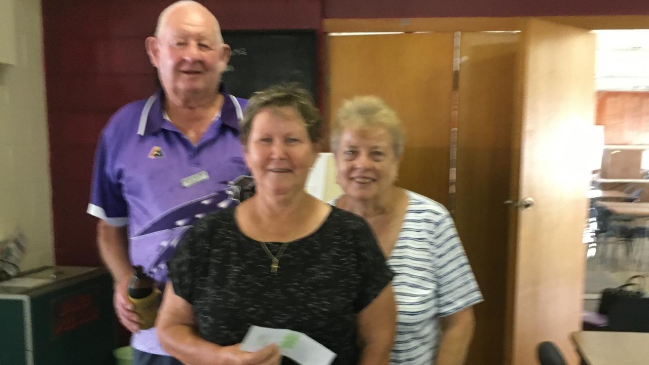 Wednesday social winners for Bowen Bowls Club Hugh Nation, Dot Wilson and Lou Fordham.
