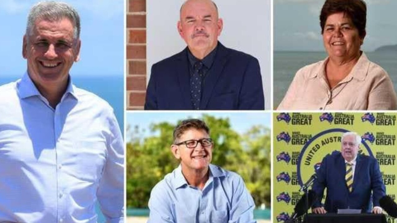 Burdekin candidates for the 2020 Queensland election. Left: Burdekin MP Dale Last (LNP). Top: Mike Brunker (ALP) and Carolyn Moriarty (NQ First). Bottom: Sam Cox (KAP) and UAP leader Clive Palmer. UAP's candidate is Benjamin Wood.