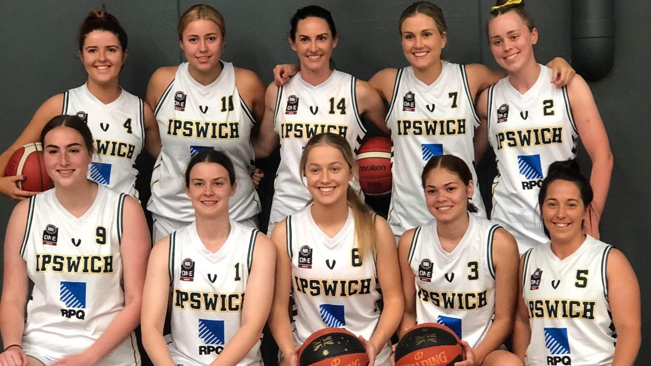 The Ipswich Force women's team playing in the 2020 Queensland State League semi-final on Friday.