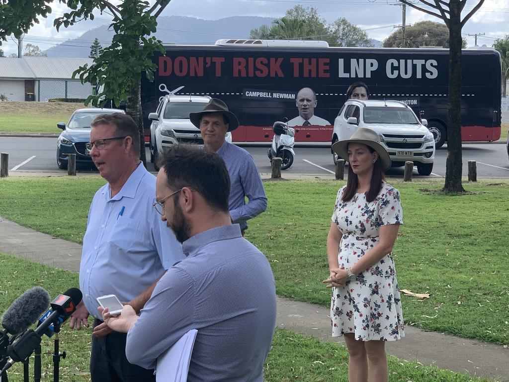 Labor's candidate for Rockhampton Barry O'Rourke addresses the media with Mines Minister Anthony Lynham and Labor's candidate for Keppel Brittany Lauga.