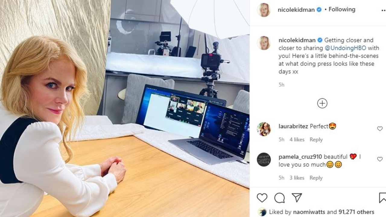 """Nicole Kidman's posts """"Here's a little behind-the-scenes at what doing press looks like these days."""""""