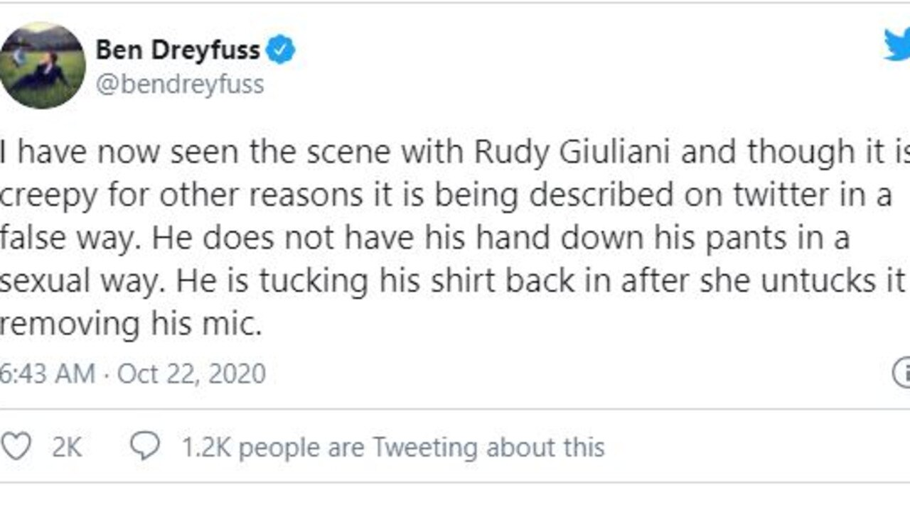 Ben Dreyfuss claims the Giuliani scene is more innocent than it appears. Picture: Twitter