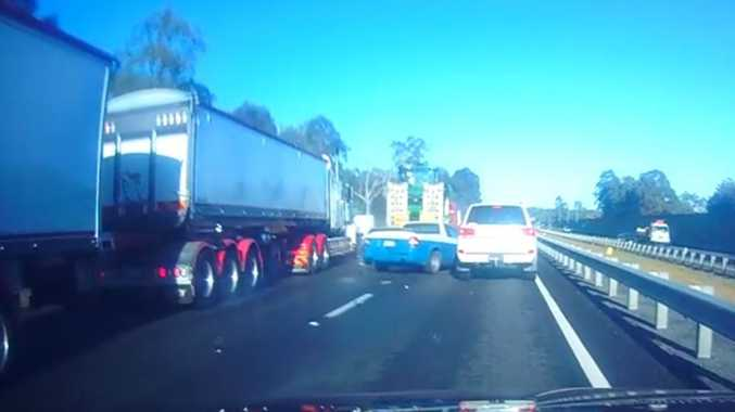 'Holy S**t': Multi-truck smash captured on film