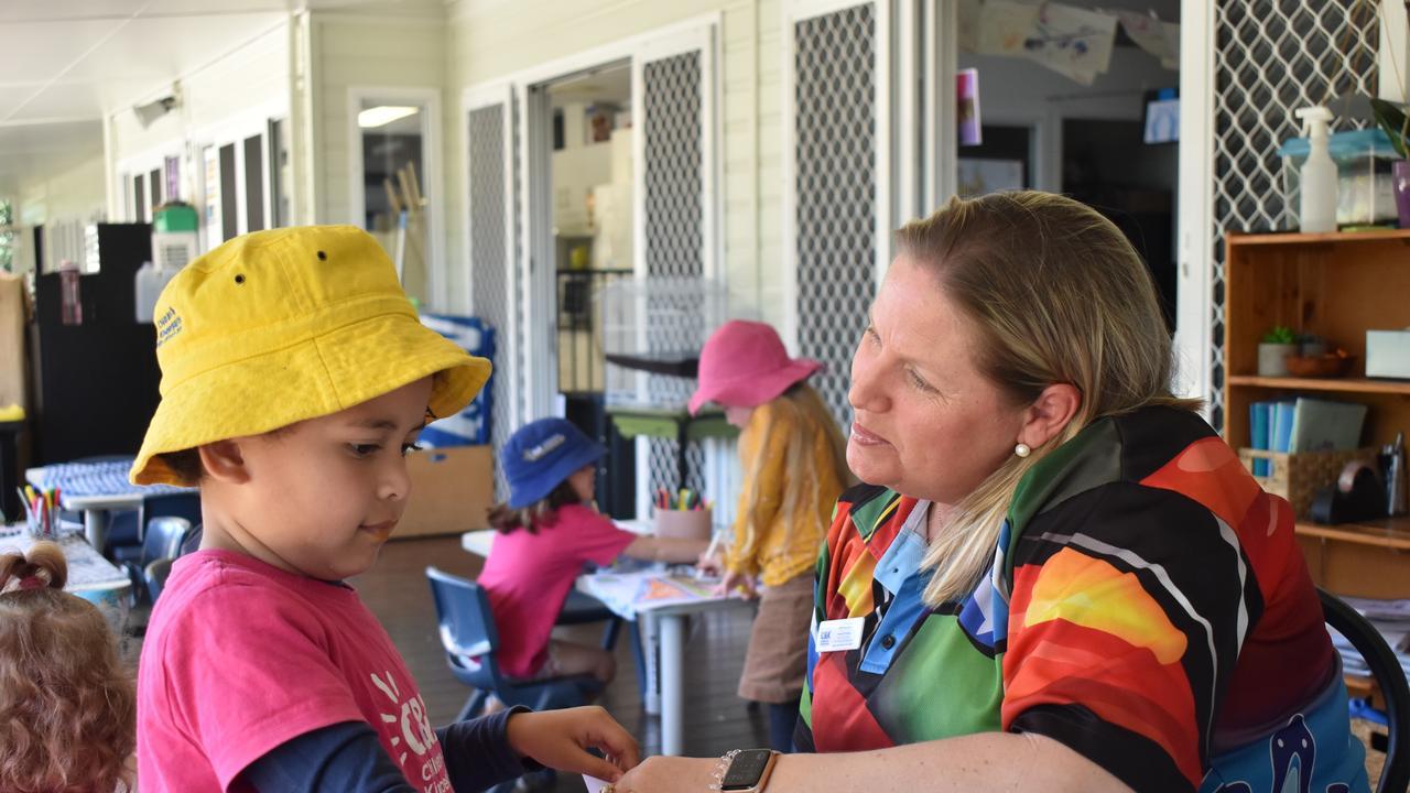 Aja-Pearl Latu, 4, with C & K Eimeo Road Community Kindergarten director and teacher Belinda Rule. Picture: Heidi Petith