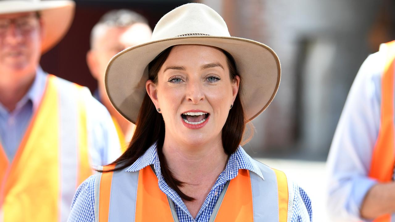 Queensland member for Keppel Brittany Lauga speaks at t the Old Rockhampton Train Workshop where plans are afoot to reboot Rockhampton's rail manufacturing. Picture: NCA NewsWire / Dan Peled
