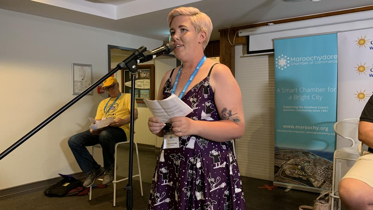 Greens candidate Gabrielle Unverzagt speaks at a Maroochydore candidate forum at the Alex Surf Club.
