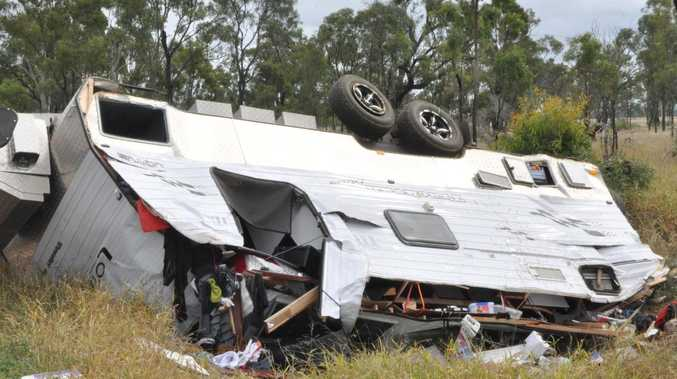 UPDATE: Woman's lucky escape as caravan flips at Cap Coast