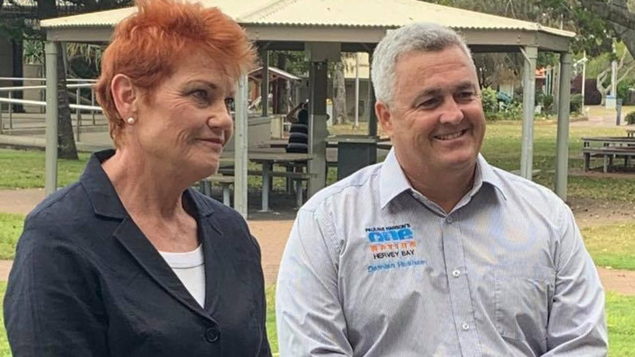 ONE NATION: One Nation Senator and party founder Pauline Hanson with party candidate for Hervey Bay Damian Huxham. Photo: Stuart Fast
