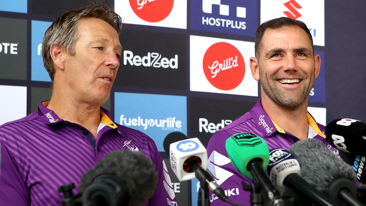 Melbourne coach Craig Bellamy and Captain Cameron Smith of the Storm speak to the media during a Melbourne Storm NRL Grand Final preview press conference at Sunshine Coast Stadium on October 22. Picture: Jono Searle/Getty Images