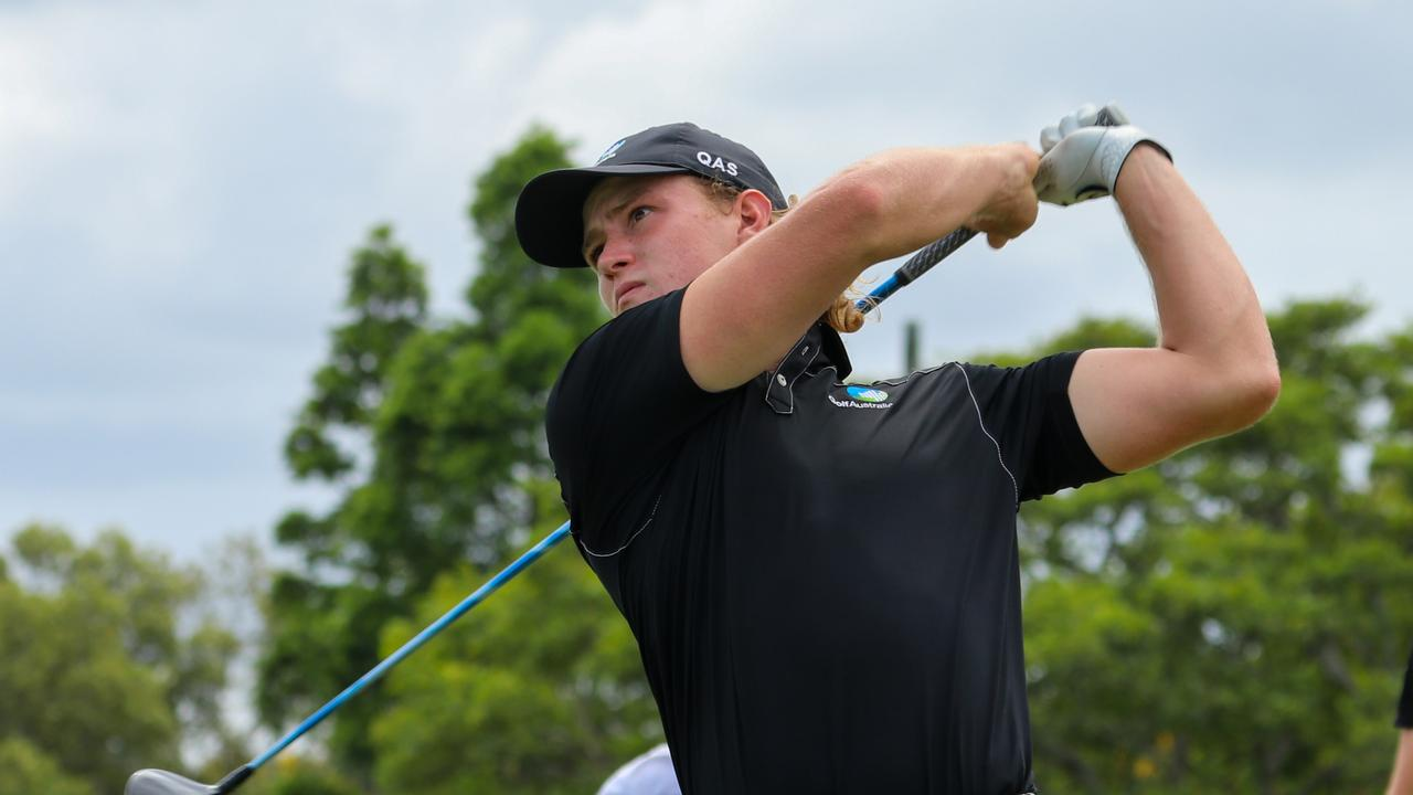Queensland's Jed Morgan in action at the Australian Amateur at Royal Queensland. Photo: Kirsty Wrice, Golf Australia