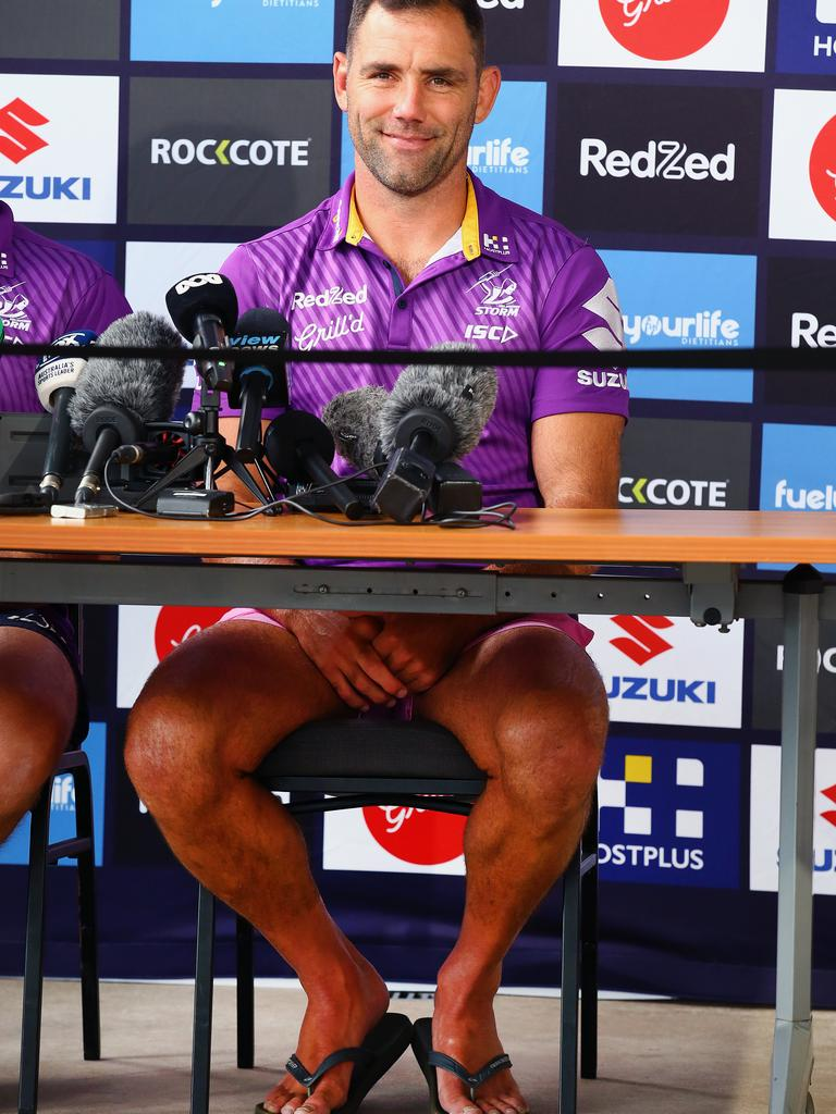 Captain Cameron Smith of the Storm speaks to the media during a Melbourne Storm NRL Grand Final preview press conference at Sunshine Coast Stadium. Picture: Jono Searle/Getty Images