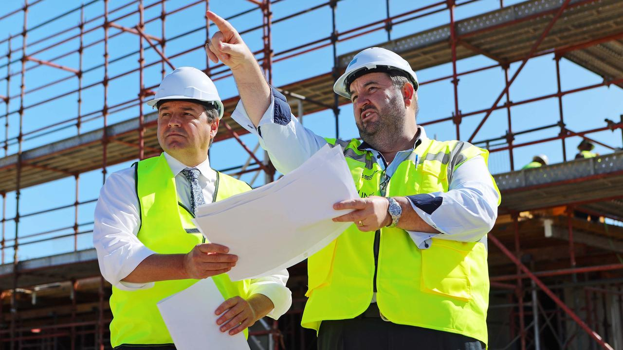 Federal Member for Cowper Pat Conaghan with Bachrach Naumburger Group General Manager Steve Gooley, inspecting work on the company's $150 million Park Beach development The Shoreline.
