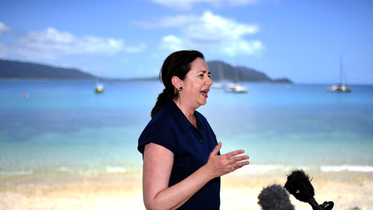 Queensland Premier Annastacia Palaszczuk announced a $40 million investment in the protection of the Great Barrier Reef, should Labor win government. Picture: NCA NewsWire / Dan Peled