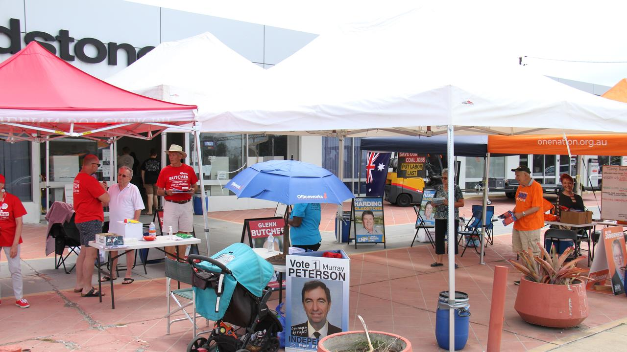Independent candidate for Gladstone Murray Peterson's how-to-vote cards were rejected by the Electoral Commission of Queensland. His sign is displayed here at Gladstone's Toolooa Street booth. Picture: Rodney Stevens
