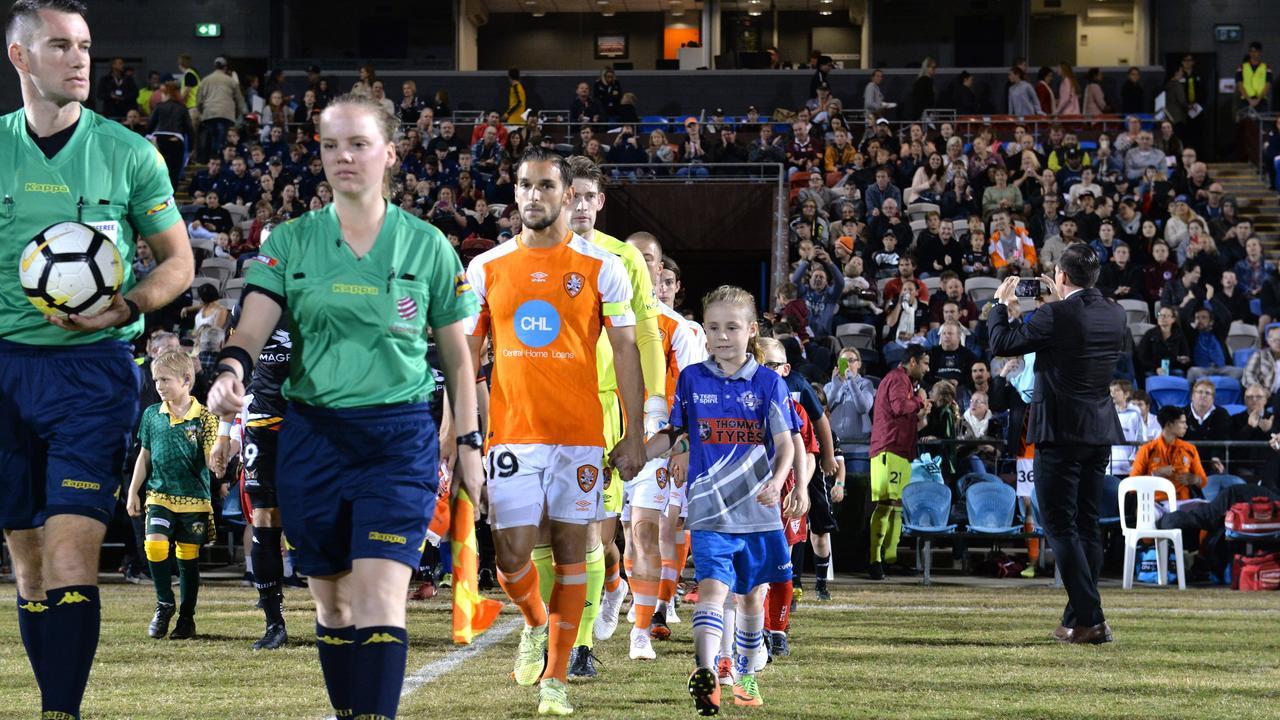 Brisbane Roar versus Magpies Crusaders at BB Print Stadium on Thursday, July 12, 2018.