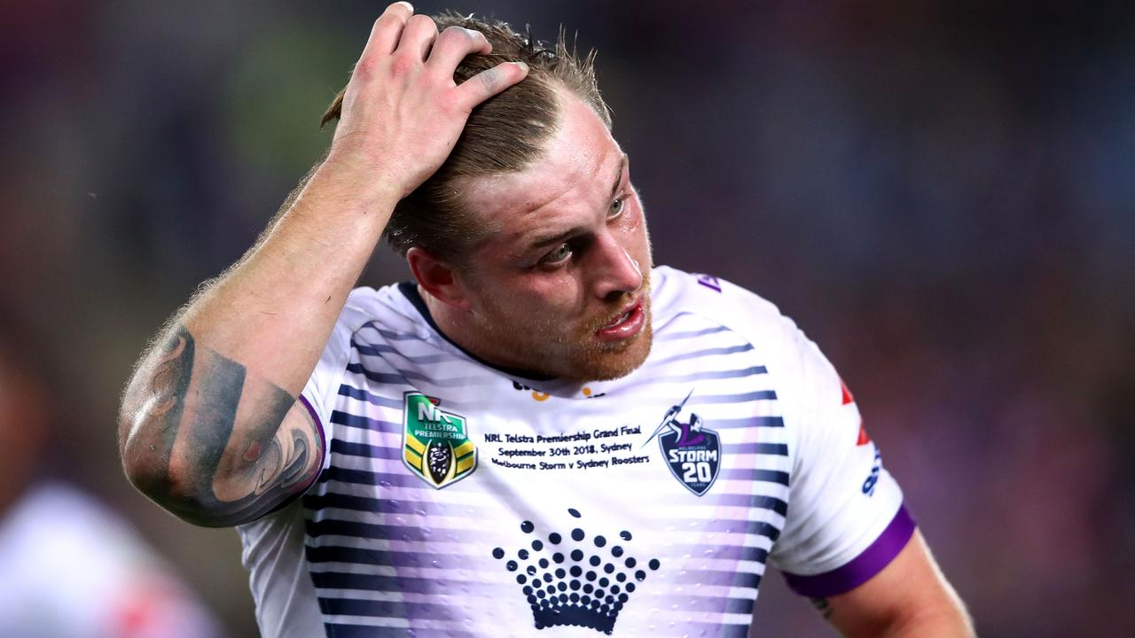 SYDNEY, NEW SOUTH WALES - SEPTEMBER 30: Cameron Munster of the Storm is sent to the sin-bin during the 2018 NRL Grand Final match between the Melbourne Storm and the Sydney Roosters at ANZ Stadium on September 30, 2018 in Sydney, Australia. (Photo by Mark Kolbe/Getty Images)