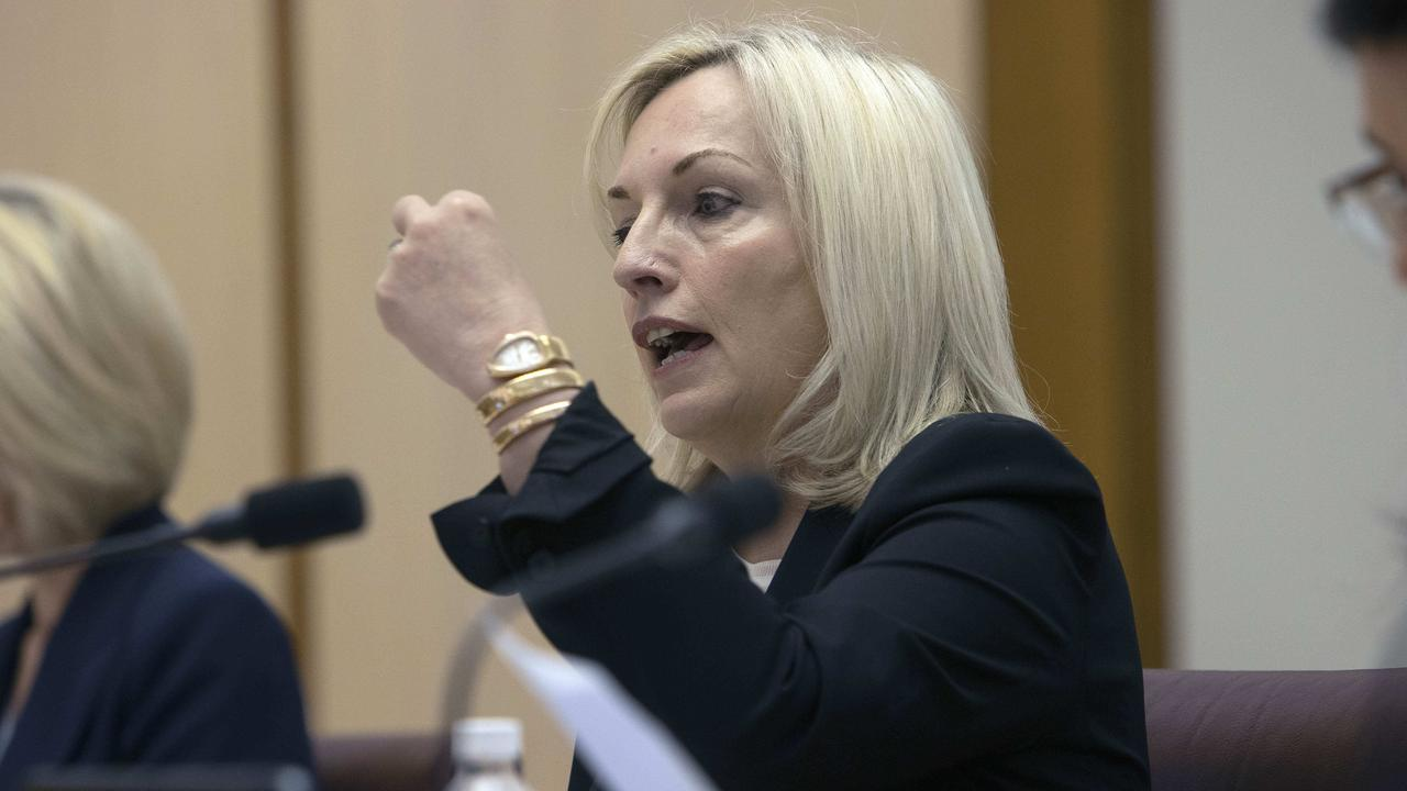 Christine Holgate and her expensive watch during Senate Estimates in Canberra. Picture: NCA NewsWire / Gary Ramage