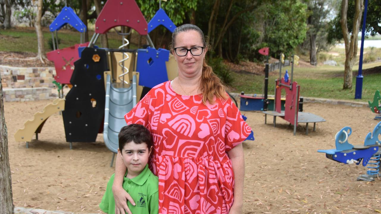 Michelle Sargaison and her son Izaak said the Millenium Esplanade playground needs to be shaded quickly ahead of summer.