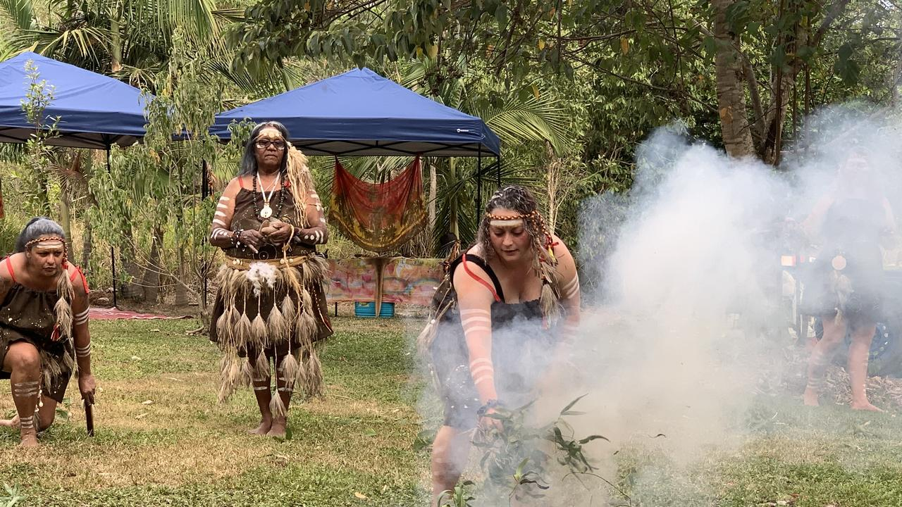 Giya/Gia women perform a traditional smoke ceremony in preparation for the upcoming state election. Picture: Laura Thomas