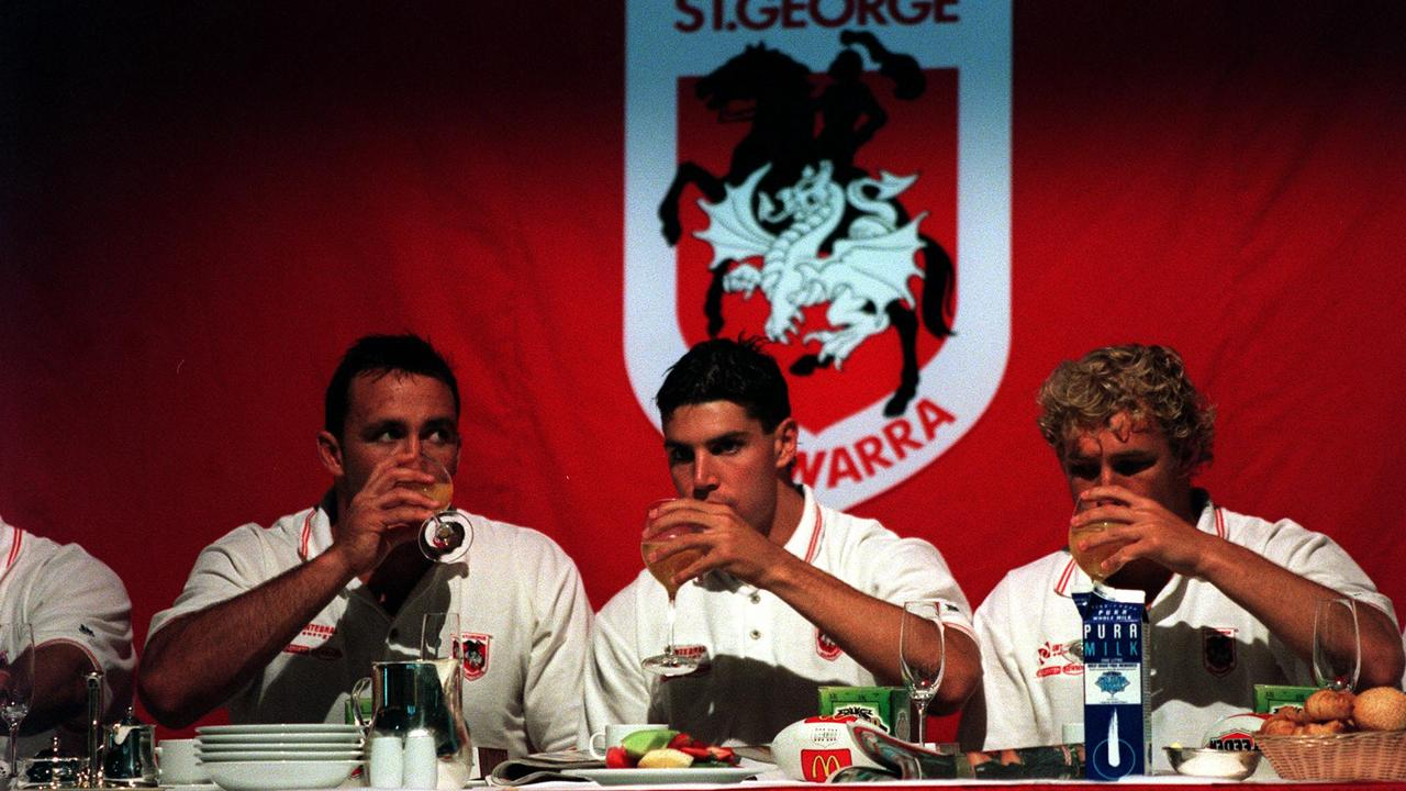 Wayne Bartrim, Trent Barrett and Nathan Brown prior to the 1999 grand final.