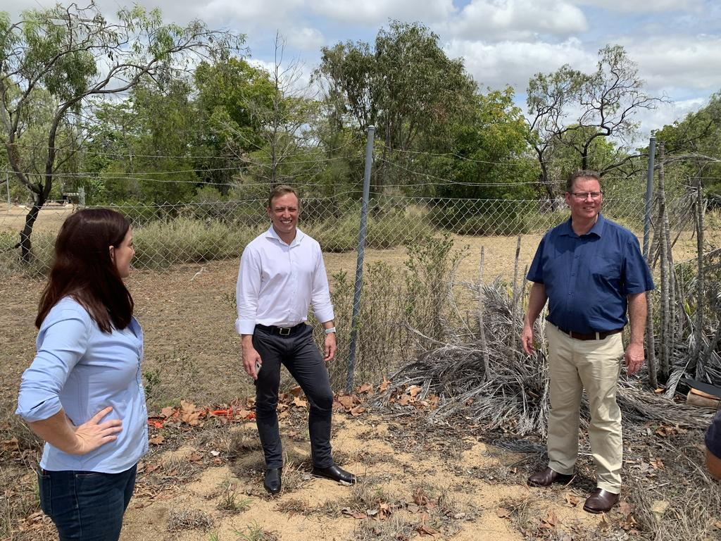 STATION RELOCATION: Deputy Premier Steven Miles and Labor candidates for Keppel Brittany Lauga and Rockhampton Barry O'Rourke check out the vacant block where the new North Rockhampton Ambulance Station would be relocated.