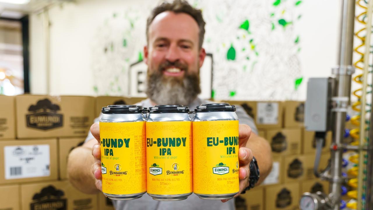 Head brewer at Eumundi Brewery Chris Sheehan shares the new brew, Eu-Bundy IPA. Picture: Alain Bouvier.