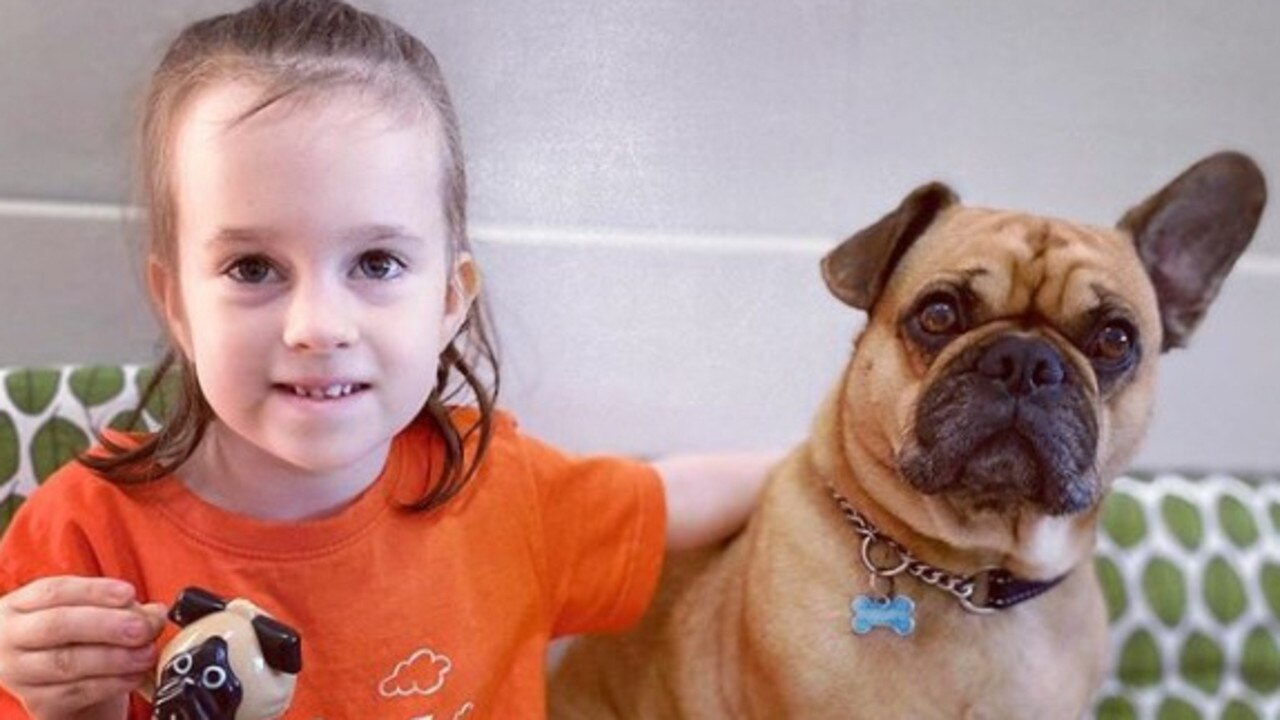 Brooklyn with Frank the Frug, who is the resident dog at C & K Walkerston Kindergarten. Picture: Contributed