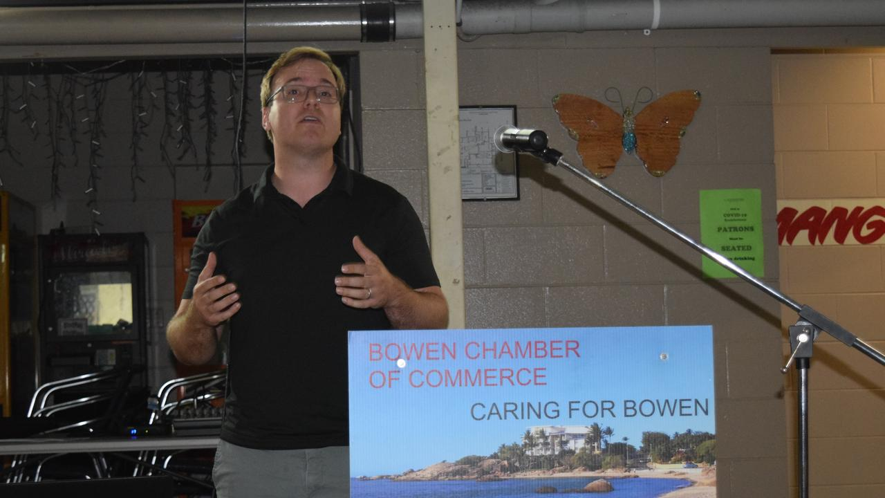 Greater Rewards Group general manager Blake Thomas speaking about the Whitsunday Paradise development at the Bowen Chamber of Commerce meeting on August 13, 2020.