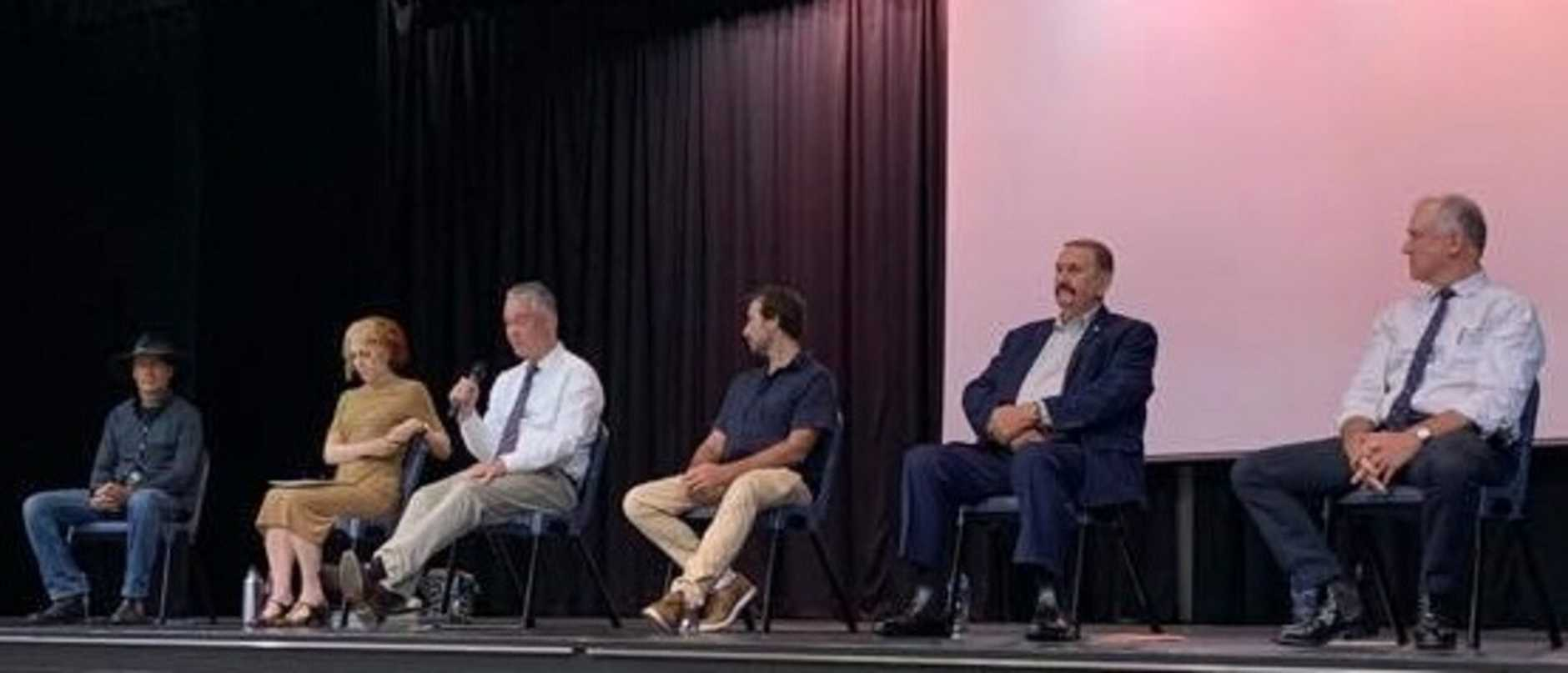 Candidates on stage at the Gympie state election debate.