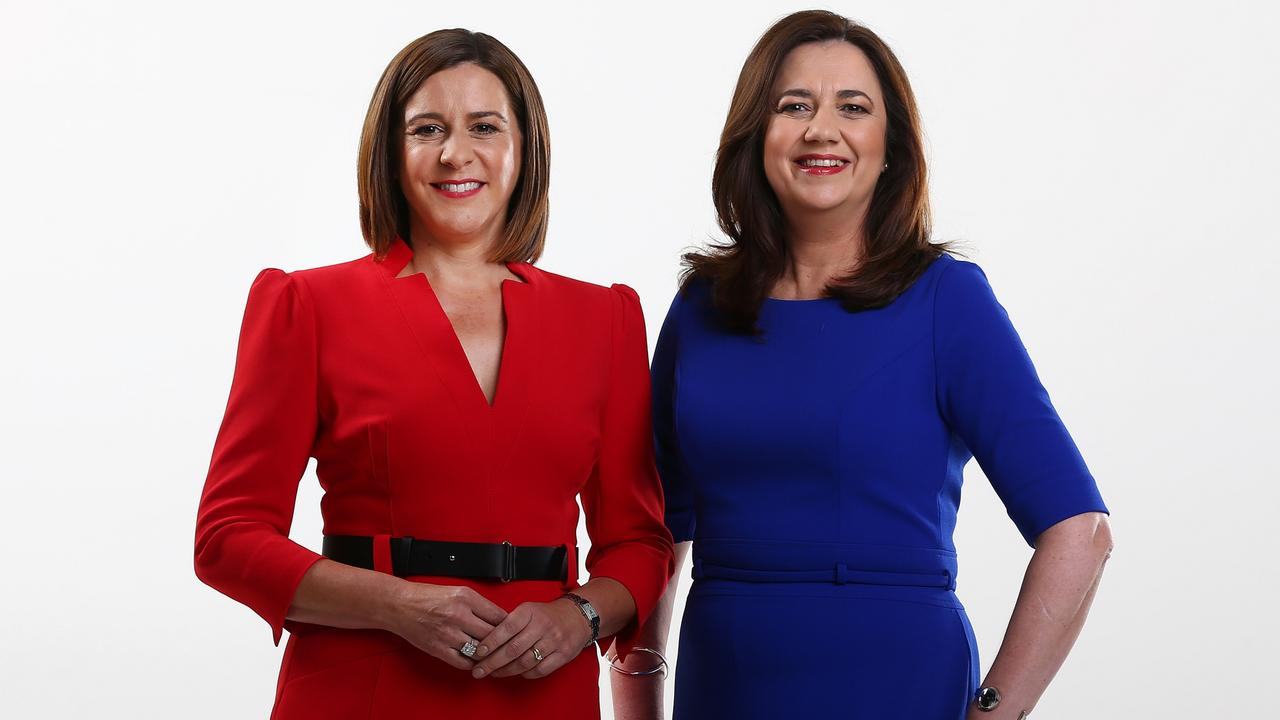 Deb Frecklington, leader of the Liberal National Party with Premier Annastacia Palaszczuk. Picture: Adam Head