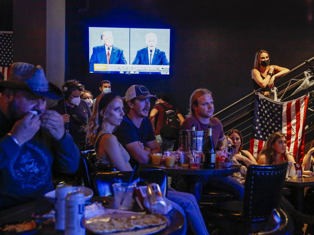 A debate watch party at Nashville Underground in Nashville, Tennessee, USA. Picture: Angus Mordant for News Corp Australia