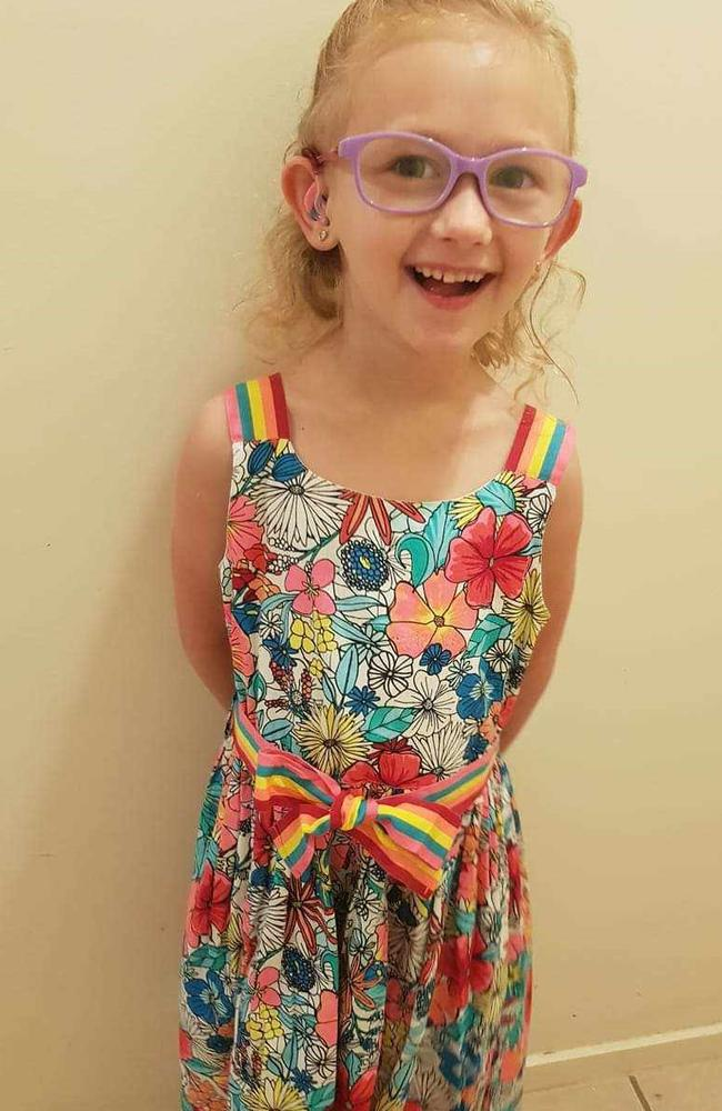 Emelia Shadwell was given the gift of hearing at 12 months old. She now takes part in Hear and Say fundraiser Loud Shirt Day every year. Picture: Supplied