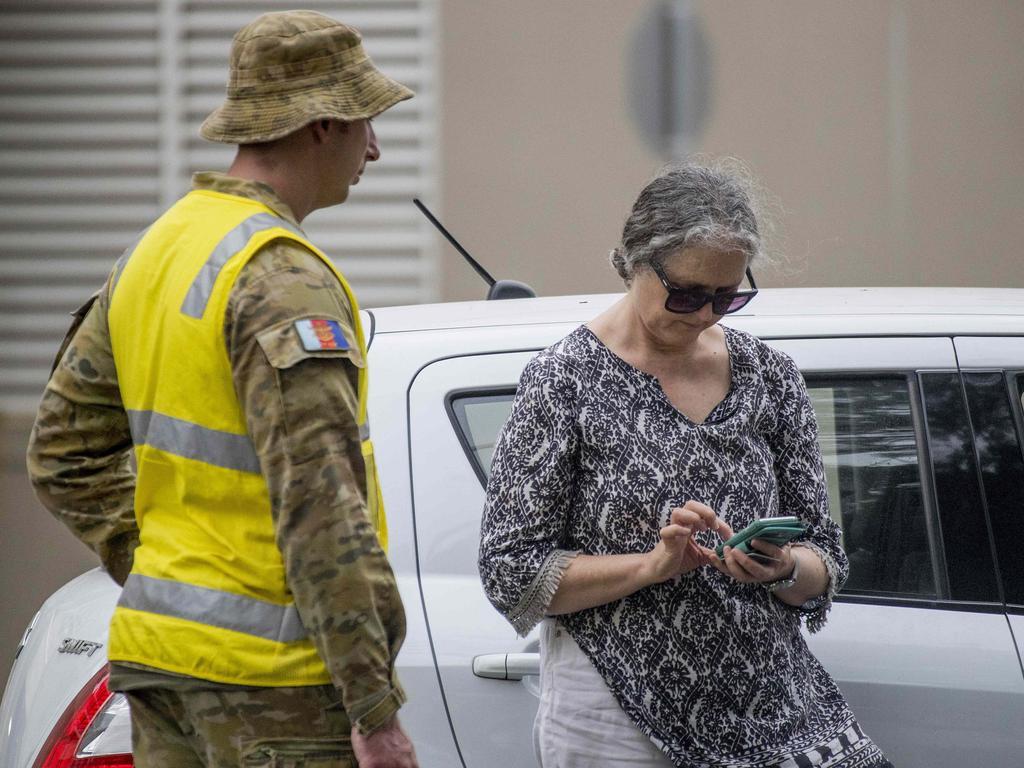 ADF personnel at the QLD-NSW border at Coolangatta. Picture: Jerad Williams