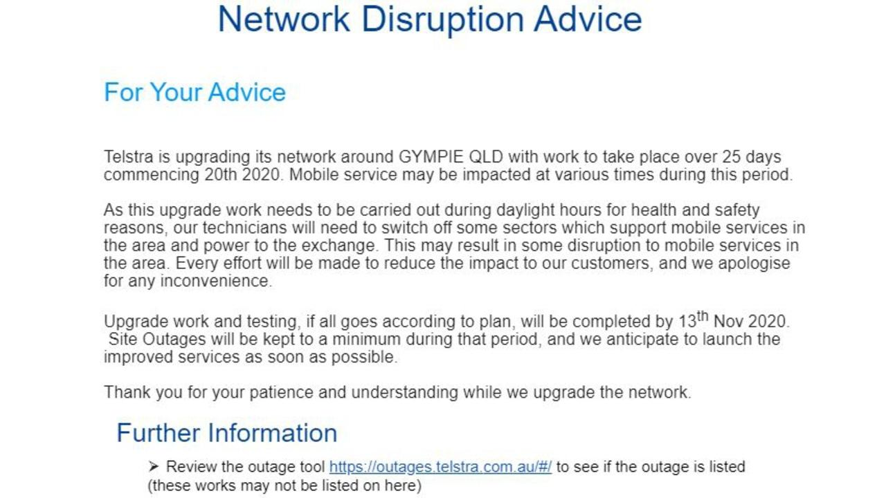 A letter Telstra sent to Gympie council, shopkeepers and MPs ahead of upgrade works which have seen widespread disruptions to internet service and connection in the region.