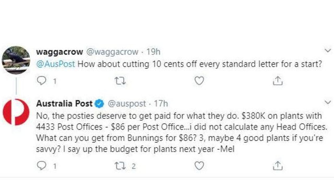 A member of the Australia Post social media team responds to complaints following the Cartier scandal in a since-deleted tweet.