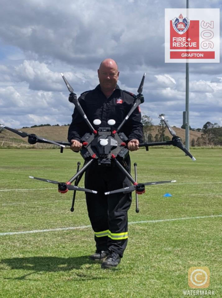 Fire and Rescue 306 Grafton deputy captain Chris Rumpf practising with one of the new drones.