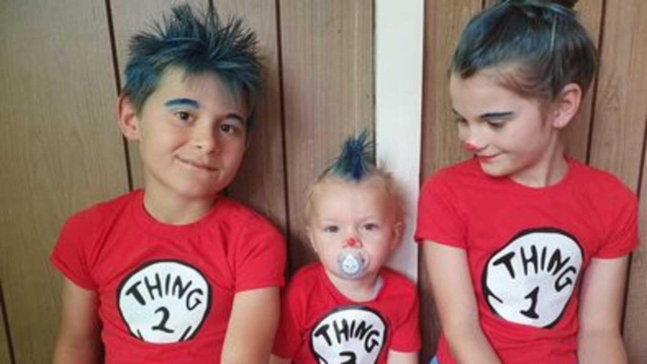 Cassandra Rethamel's kids dressed up as Thing 1, Thing 2 and Thing 3 from the Dr Seuss books.