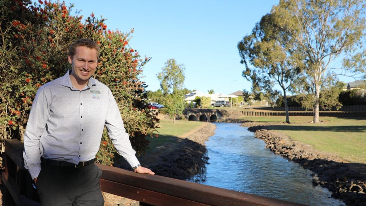 Bundaberg Regional Council civil engineer David Fulton at the Belle Eden Estate drainage channel. Photo: Contributed