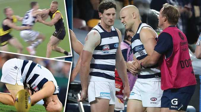 Tigers star out cold, Ablett injured in early GF carnage