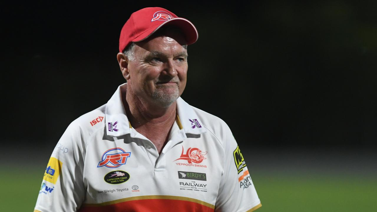 Mark Wallin has called time on his incredibly successful coaching career with the Yeppoon Swans after they etched their names in Aussie rules history. Photo: Jann Houley