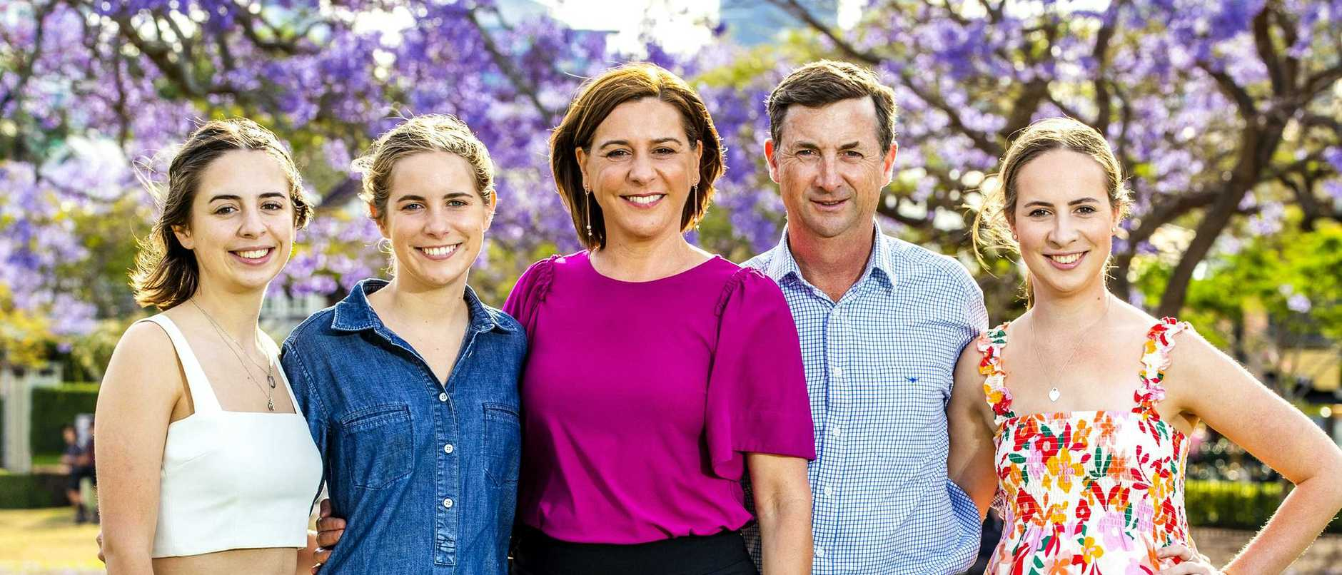 While Deb Frecklington's husband and three daughters concede her frantic schedule can be challenging, they are happy to help with her political campaign.