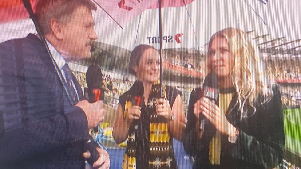 Brian Taylor, Ash Barty and Stephanie Gilmore on Channel 7.