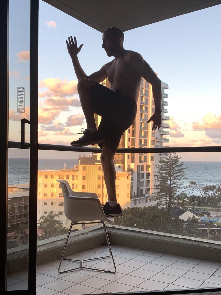 Dimitri Zafiriadis decided to keep fit while in hotel quarantine on the Gold Coast. Picture: Supplied.