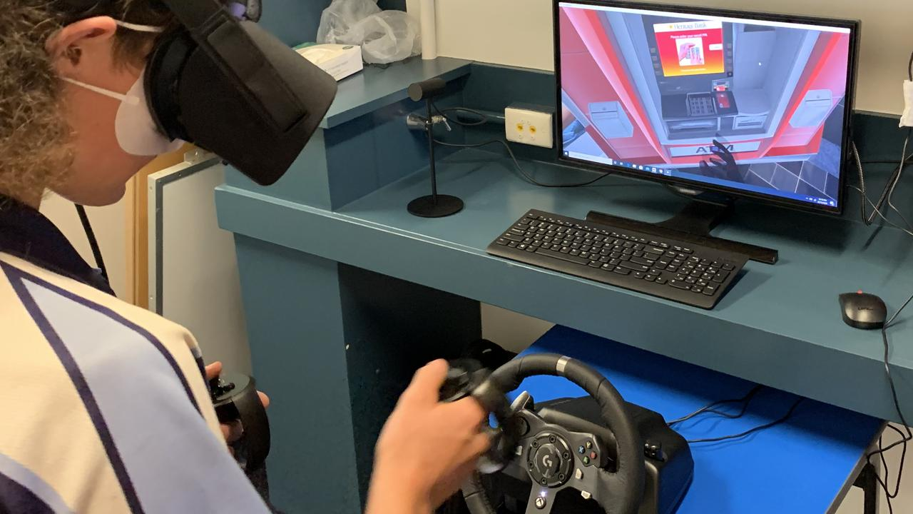 Moranbah State School student Wayne, 15, testing out the new virtual reality hub developed by the Endeavour Foundation. Picture: Contributed