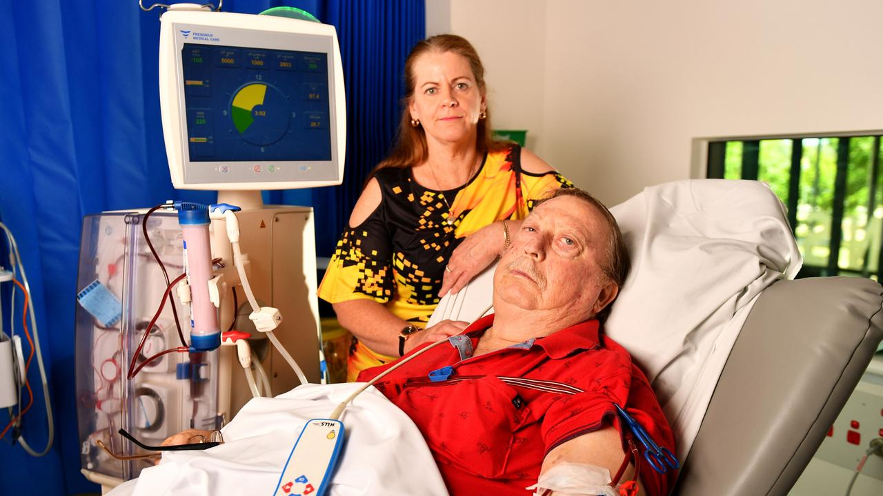 Steve and Tracey Murphy have to travel 260kms every second day for Steve to receive dialysis treatment in Townsville. Picture: Alix Sweeney